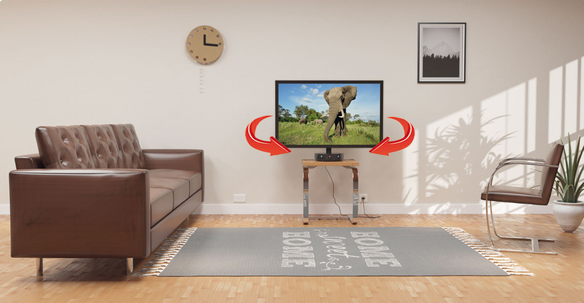 If there are several persons in the room, the TV Smart Base will adjust a TV set in a middle position in relation to them.