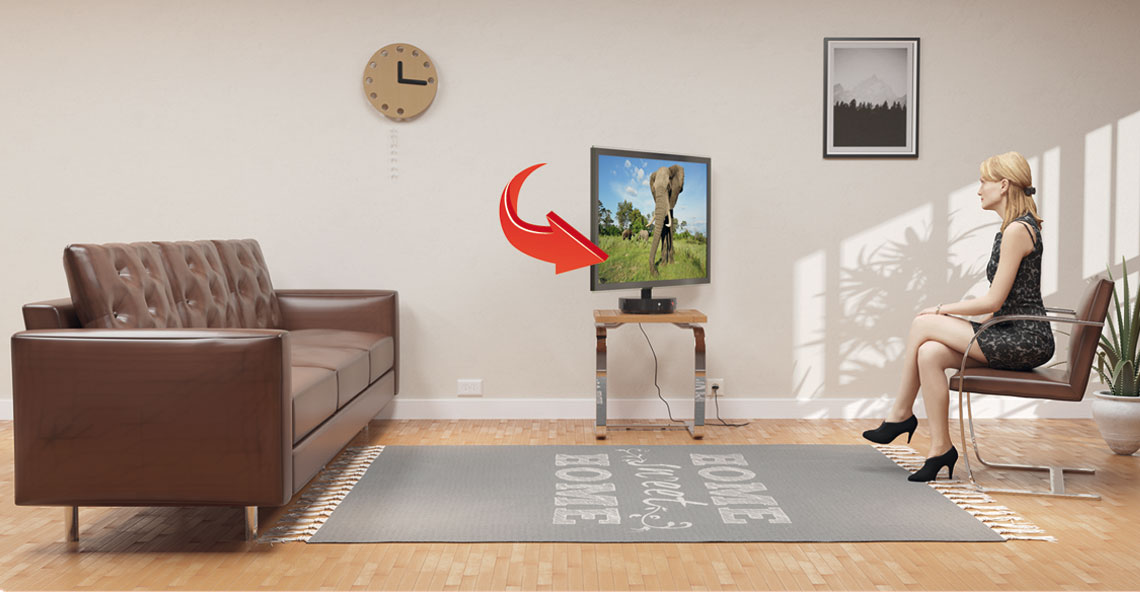 If the viewer is on the right the Base will turn TV to the right.